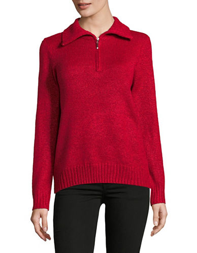Karen Scott Zip Mock Neck Sweater-RED-X-Large