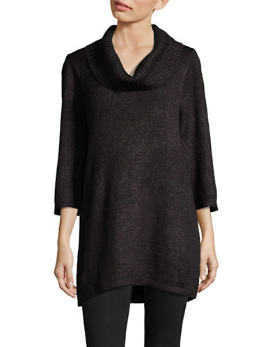 Karen Scott Cowl Neck Knit Tunic-BLACK-Medium