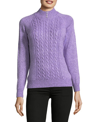 Karen Scott Petite Marled Knit Sweater-PURPLE-Petite X-Small