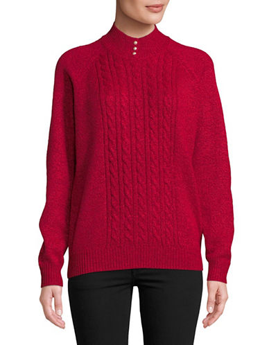 Karen Scott Petite Marled Knit Sweater-RED-Petite Small