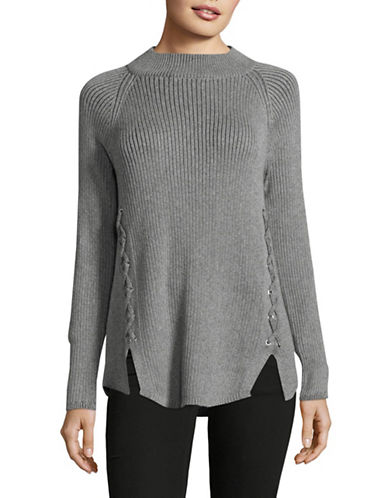Style And Co. Mock Lace-Up Pullover-GREY-Small
