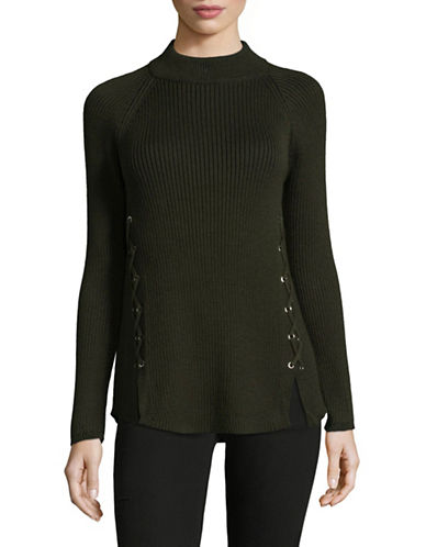 Style And Co. Mock Lace-Up Pullover-GREEN-X-Large