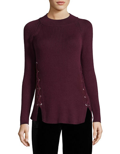 Style And Co. Mock Lace-Up Pullover-PURPLE-X-Large