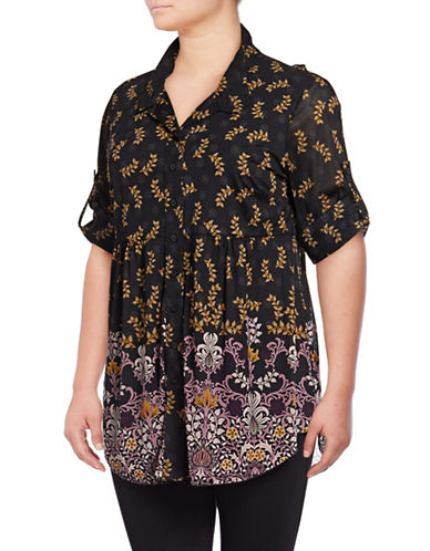 Style And Co. Plus Peasant Mesh Tunic-BLACK FLORAL-2X