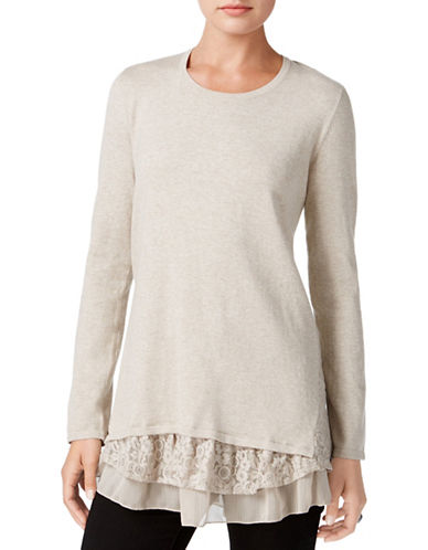 Style And Co. Petite Mix Media Sweater-BEIGE-Petite Large
