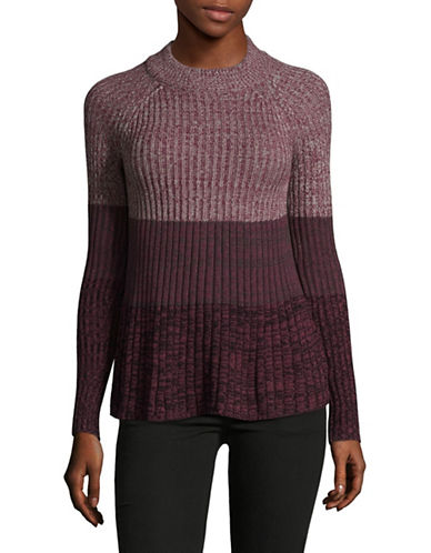 Style And Co. Petite Marl Swing Pullover-PURPLE-Petite Medium
