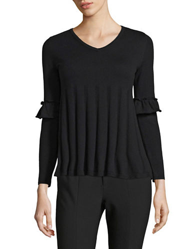 Style And Co. Petite Ruffle Sleeve Pullover-BLACK-Petite Small
