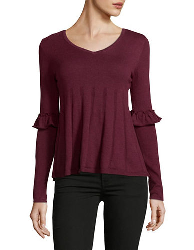 Style And Co. Petite Ruffle Sleeve Pullover-PURPLE-Petite Large