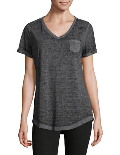 Style And Co. Burnout V-Neck Pocket T-Shirt-GREY-XX-Large