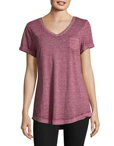 Style And Co. Burnout V-Neck Pocket T-Shirt-RED-Medium