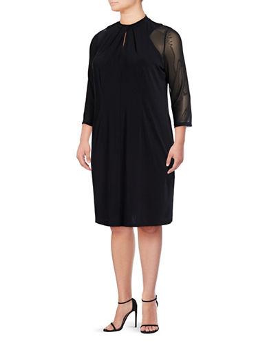 I.N.C International Concepts Plus Plus Illusion Neck Dress-DEEP BLACK-2X