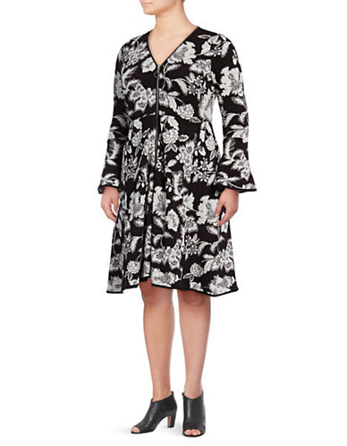 I.N.C International Concepts Plus Floral Fit-and-Flare Dress-DEEP BLACK MULTI-2X