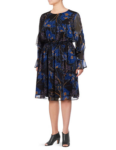 I.N.C International Concepts Plus Sheer Floral Print Dress-NIGHT FLORAL-2X