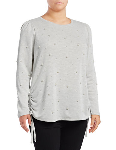 I.N.C International Concepts Plus Pearl Embellished Sweatshirt-GREY-1X