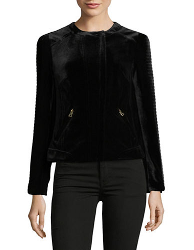 I.N.C International Concepts Velvet Moto Jacket-BLACK-Medium
