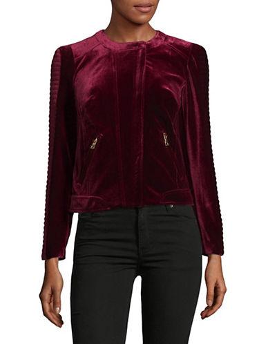 I.N.C International Concepts Petite Velvet Moto Jacket-RED-Petite Medium