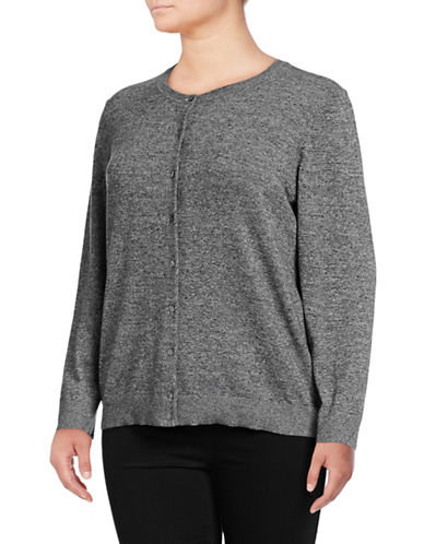 Karen Scott Plus Heathered Cardigan-GREY-1X