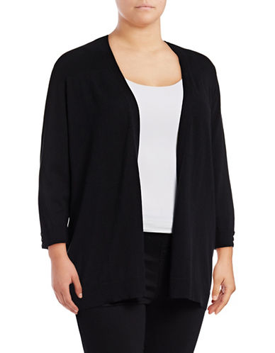 Karen Scott Plus Three-Quarter Sleeve Open Cardigan-BLACK-1X