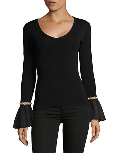 I.N.C International Concepts Petite Embellished Bell-Sleeve Top-BLACK-Petite Large