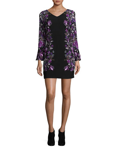 I.N.C International Concepts Petite Floral Stretch Dress-PURPLE MULTI-Petite Small