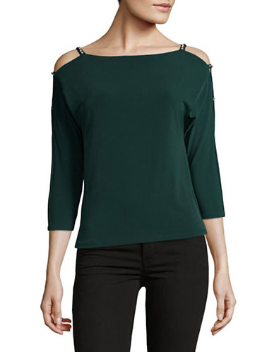 I.N.C International Concepts Petite Embellished Cold-Shoulder Top-GREEN-Petite Medium