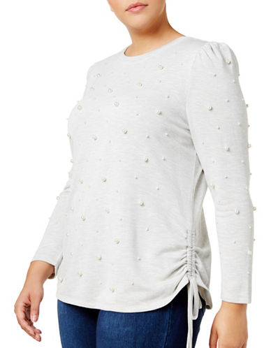 I.N.C International Concepts Faux Pearl Studded Top-GREY-Large