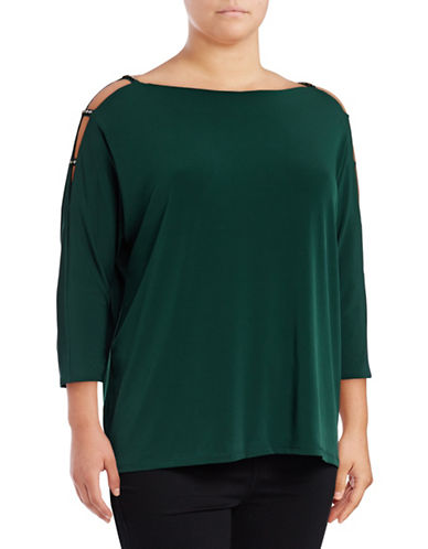 I.N.C International Concepts Plus Jewel Cold-Shoulder Blouse-GREEN-1X