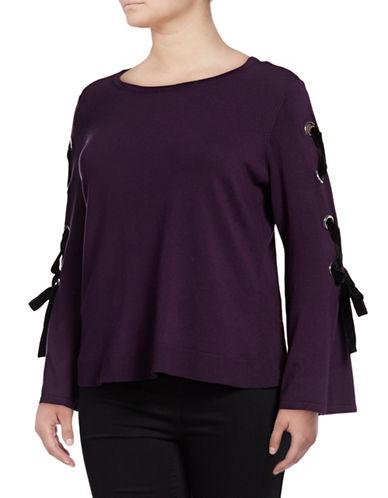 I.N.C International Concepts Plus Plus Velvet Lace-Up Top-BLACKBERRY-1X