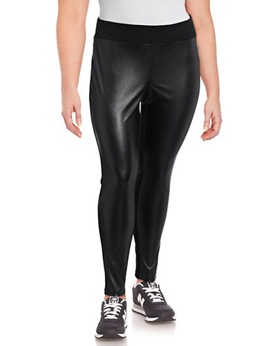 I.N.C International Concepts Plus Faux Leather Front Leggings-DEEP BLACK-18W