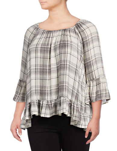 Style And Co. Plus Plaid Peasant Blouse-IVORY-1X