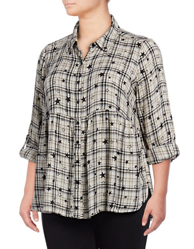 Style And Co. Plus Astrid Plaid Button-Down Shirt-NATURAL-3X