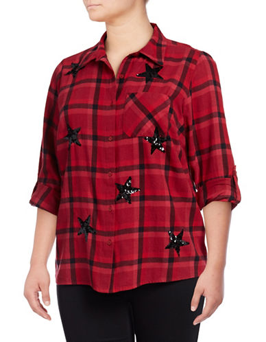 Style And Co. Plus Flannel Cotton Button-Down Shirt-RED-2X