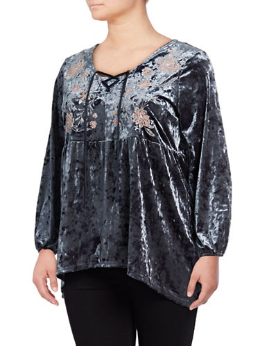 Style And Co. Plus Plus Velvet Peasant Blouse-GREY-1X