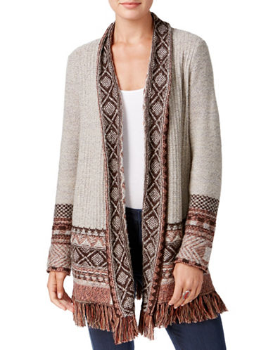 Style And Co. Petite Bohemian Knit Cardigan-BEIGE-Petite Medium