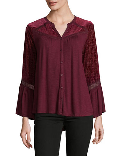 Style And Co. Velvet Bell Sleeve Top-PURPLE-Medium