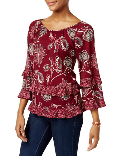 Style And Co. Petite Tiered Ruffled Detail Floral Blouse-PINK-Petite Medium