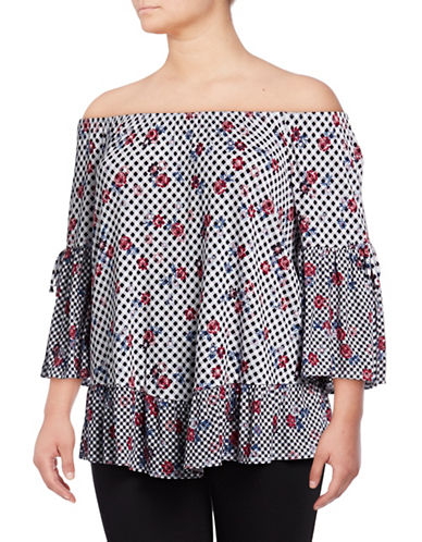 Style And Co. Plus Off-The-Shoulder Floral Top-BLACK-2X