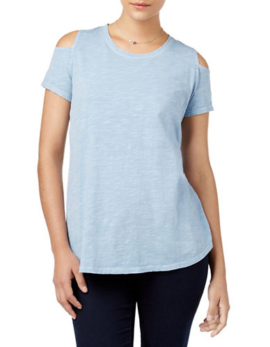 Style And Co. Cold-Shoulder Cotton Tee-BLUE-Large