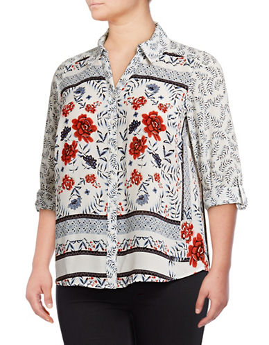 Style And Co. Plus Bed Of Roses Button-Down Top-MULTI-1X