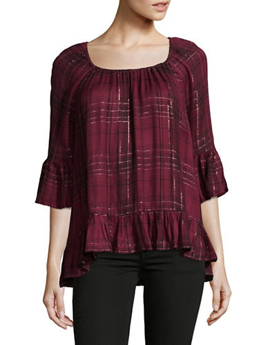 Style And Co. Petite Plaid Ruffle Blouse-RED-Petite Small