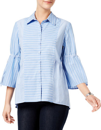 Style And Co. Cotton Striped Button-Down Shirt-BLUE-Small