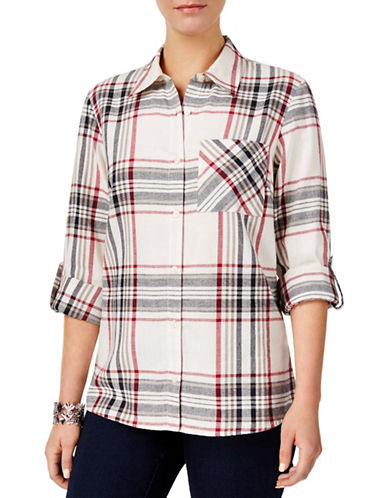 Style And Co. Plaid Cotton Button-Down Shirt-BLACK-Medium