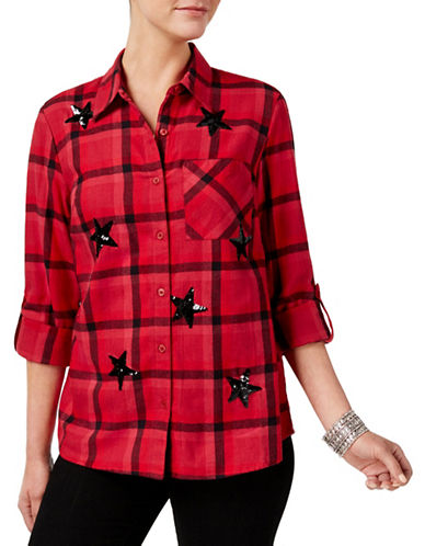 Style And Co. Star Sequin Plaid  Shirt-RED-Medium