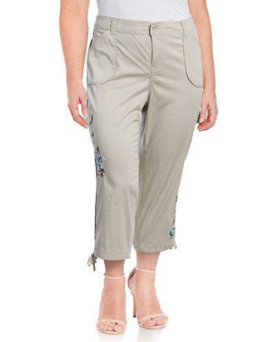 Style And Co. Plus Embroidered Floral Cargo Pants-STONEWALL-18W