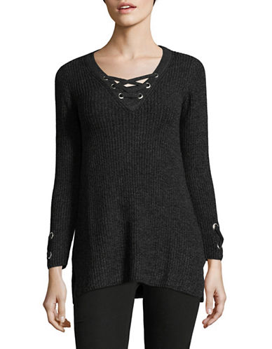Style And Co. Petite Lace Up Tunic-BLACK-Petite Large