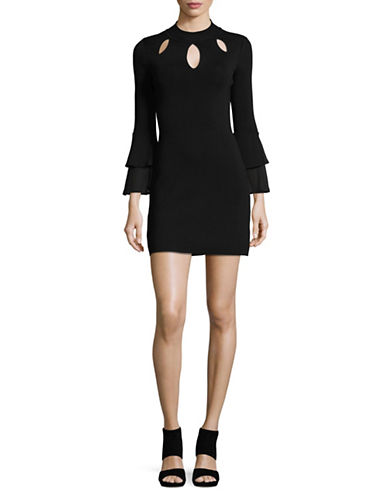 I.N.C International Concepts Petite Woven Bell Sleeve Dress-BLACK-Petite X-Small