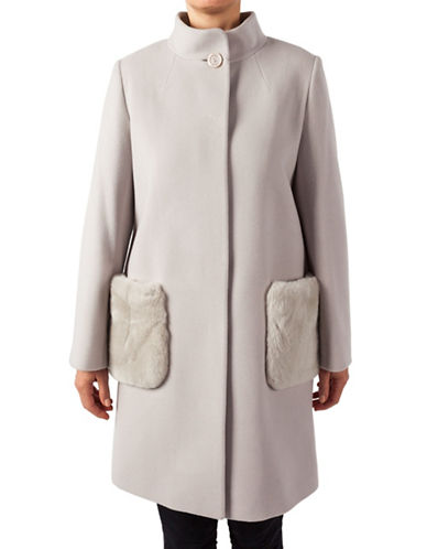 Cinzia Rocca Stand Collar Mid-Length Coat with Fur Pockets-CLOUD-4