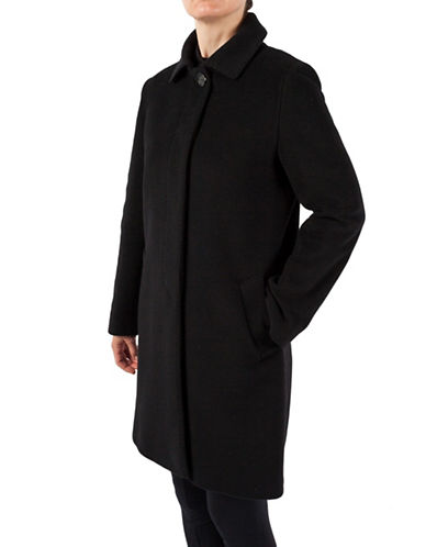 Cinzia Rocca Tailored Collar Mid-Length Coat-BLACK-12