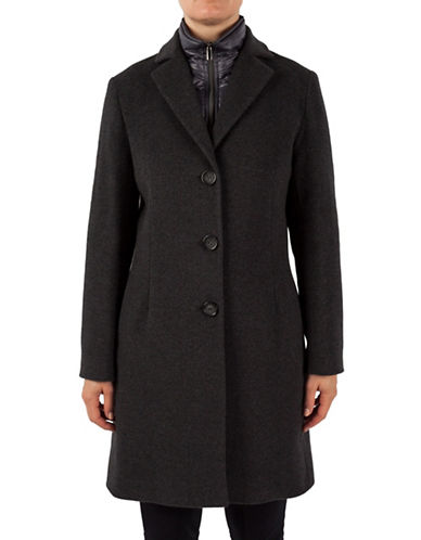 Cinzia Rocca Reefer Coat with Bib and Vest-DARK CHARCOAL-10