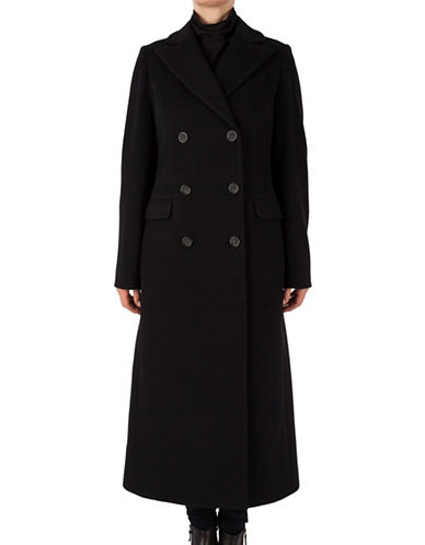 Cinzia Rocca Long Notch Collar Maxi Coat-BLACK-12